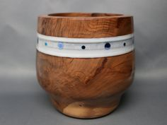 Unique Wooden Bowl Made of Red Gum Wood with Blue by Colemancrafts