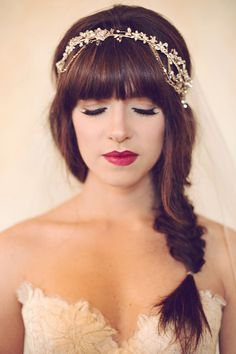 Braid and crystal headpiece. Hair and Makeup: Brenna Mader. Headband: Twigs & Honey.