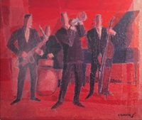 The Jazz Band by Gerard Sekoto Gerard Sekoto, South African Artists, Jazz Band, Portraits, Art Database, Artwork, Painting, Modernism, Constructivism