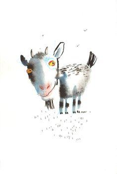 The Goat and Three Birds, original painting by ozozo. €40.00, via Etsy.