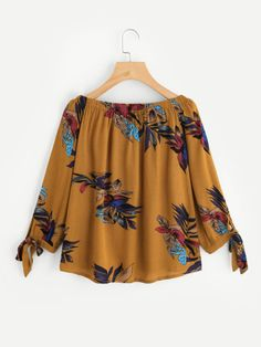 SheIn offers Boat Neckline Floral Print Tie Cuff Blouse & more to fit your fashionable needs. Batik Fashion, Hijab Fashion, Girl Fashion, Fashion Dresses, Kurta Designs, Blouse Designs, Yellow Blouse, Blouse Outfit, Blouse Online