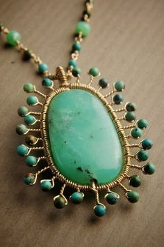 14k Gold fill Necklace w/ Chrysoprase, Turquoise