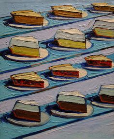 Wayne Thiebaud 'Refrigerator Pies', Milwaukee Museum of Art, Milwaukee, Wisconsin by hanneorla, Richard Diebenkorn, Pop Art, Food Painting, Painting & Drawing, Milwaukee Museum, Milwaukee Wisconsin, Wayne Thiebaud Cakes, Wayne Thiebaud Paintings, Juan Sanchez Cotan