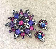 WEISS PURPLE RHINESTONE BROOCH EARRINGS SET - RHINESTONE FLOWER SET RARE WEISS | eBay