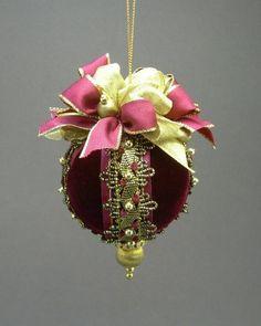 victorian beaded ornaments | ... Handmade Victorian Style Beaded Velvet Christmas Ornament Ball | eBay