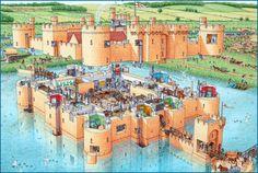 Bodiam castle cutaway by Stephen Biesty Plans Architecture, Historical Architecture, Ancient Architecture, Fantasy Places, Fantasy Map, Fantasy World, Medieval Life, Medieval Castle, Castillo Bodiam
