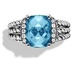 Pre-owned David Yurman Petite Sterling Silver Hampton Blue Topaz and... ($405) ❤ liked on Polyvore featuring jewelry, rings, wedding band rings, david yurman rings, pave diamond ring, sterling silver rings and blue topaz wedding rings