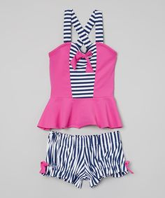 Look at this Navy Stripe & Hot Pink Bow Tankini - Toddler & Girls on #zulily today!