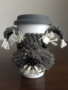 Crochet Pattern, Crochet Schnauzer Pattern, Crochet Pattern Mug Cozy, Cup Cozy Pattern, Crochet Dog Pattern, Crochet Coffee Sleeve Pattern