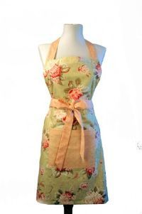 Sage Faded Floral Full Apron