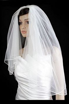Bridal Wedding Plain Veil White 2 Tiers Elbow Length With Pencil Edge -- You can get more details by clicking on the image.(This is an Amazon affiliate link and I receive a commission for the sales)