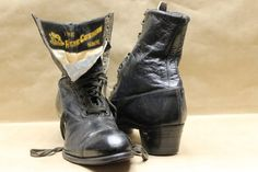 Turn of The Century Women's Leather Boots. Utz & Dunn's Lace up C. Les Miserables Costumes, Leather Boots, Cowboy Boots, Riding Boots, Vintage Items, Steampunk, Lace Up, Trending Outfits, Heels