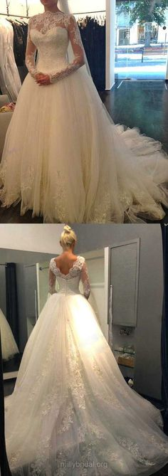 Ball Gown Wedding Dresses Ivory, Lace Wedding Dresses Long Sleeve, Tulle Bridal Gowns Beading Modest