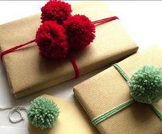 idée paquet cadeau nature kraft laine pompon  / mademoiselle cereza blog d'inspirations mariage