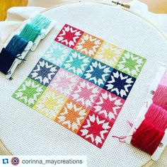 """Keera Job on Instagram: """"Isn't this #americanhoneystitching just beautiful! @corinna_maycreations has done a gorgeous job with our free cross stitch design. This is hands down my favourite quilt design and I love seeing all these little stitcheries pop up! ❤️ Download your free copy on our website by searching American Honey Cross Stitch  #livelovesewpatternco #mylivelovesew"""""""