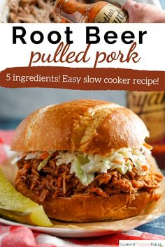 An easy 5 ingredient fix it and forget slow cooker dinner! Pork is slow simmered with apples, onions, and root beer until it's fall-apart tender, then mixed with barbecue sauce. Pork Recipes, Slow Cooker Recipes, Crockpot Recipes, Baker Recipes, Vegetarian Recipes Dinner, Easy Dinner Recipes, Delicious Recipes, Vegan Recipes, Dessert Recipes