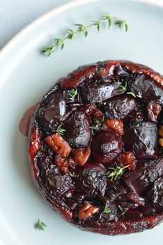 beetroot tatin with caramelised red onions and a balsamic glaze
