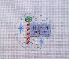 Click to buy...Christmas Candy Cane North Pole Round Handpainted Needlepoint Canvas #Unbranded