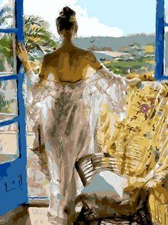 Elegant Young Lady Needlepoint Canvas #GoldenAppleArt