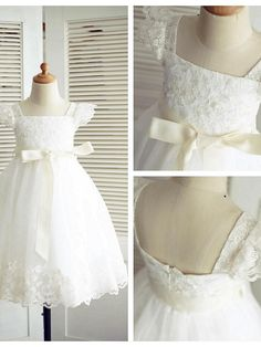 A-line Knee-length Flower Girl Dress - Lace / Tulle Short Sleeve - USD $49.99