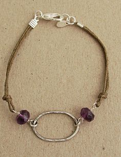 Hammered sterling oval with amethyst and brown cord bracelet