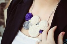 I can't believe these are handmade. They're so gorgeous!  GroopDealz | Rosette bib necklace