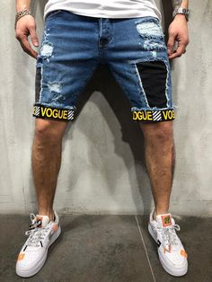 Street wear Style Ripped & Repair Jeans Shorts 4339 – Men's style, accessories, mens fashion trends 2020 Streetwear Jeans, Mode Streetwear, Streetwear Fashion, Ripped Jean Shorts, Denim Shorts, Vogue, Men Street, Street Wear, Mode Shorts