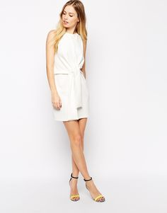 Image 4 ofASOS Sleeveless Shift Dress with Tie Waist Detail