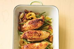 Talk about a one-pan wonder. This hearty dinner comes together in a single casserole dish or cast-iron skillet. After a 15-minute prep job, which involves tossing the potatoes, green beans, and chicken with a little olive oil and lemon juice, the meal roasts in the oven for an hour—plenty of time to wrap up homework, get organized for tomorrow morning…or relax on the couch with a glass of wine. As this dish cooks in the oven, the chicken and potatoes soak up the garlic-citrus sauce. And…