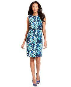 Charter Club Dress, Sleeveless Floral-Print Belted Sheath - Womens Dresses - Macy's