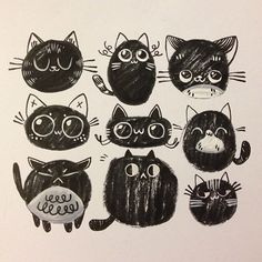 Super silly doodle cats! #sketch #pattern by LindsayJuneNohl    @Abby Brown
