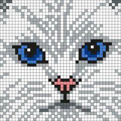 Persian Cat White White_Persian_Cat by Maninthebook on Kandi Patterns Cross Stitch Charts, Cross Stitch Designs, Cross Stitch Patterns, Cat Cross Stitches, Stitch Crochet, Crochet Chart, Kandi Patterns, Quilt Patterns, Painting Patterns