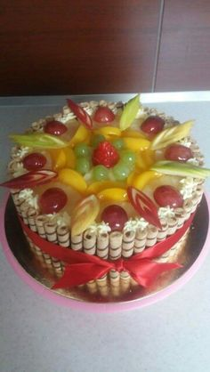 Ovocny dort (fruit cake) Tart, Food And Drink, Birthday Cake, Simple, Cakes, Birthday Cakes, Pie, Tarts, Cake