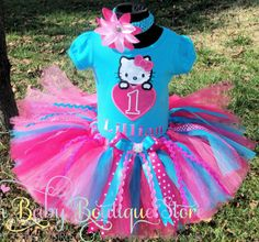 Hot Pink Turquoise Hello Kitty Heart Girls Tutu Outfit