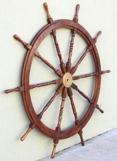 XL 60 Pirate Ship Steering Wheel Wooden Teak Helm Nautical Boat Decor. Idea for use as a headboard?