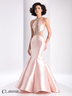 Clarisse Beaded Blush Pink Mermaid Prom Dress 3139 | Promgirl.net