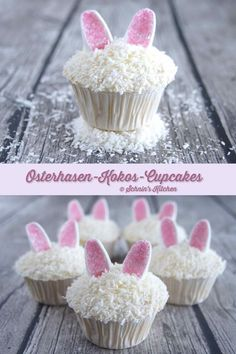 Super Juicy Easter Bunny Coconut Cupcakes - Schnin's Kitchen Supersaftige Osterhasen-Kokos-Cupcakes Easter bunny coconut cupcakes with sweet marshmallow ears for easter baking Kokos Cupcakes, Coconut Cupcakes, Cheesecake Cupcakes, Cupcake Recipes, Cupcake Cakes, Dessert Recipes, Brunch Recipes, Cocktail Recipes, Diy Cupcake