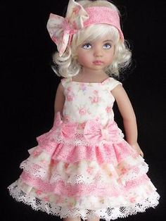 Pink and White Dress for Little Darling Doll