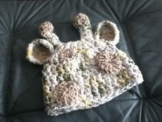 Baby Giraffe Crochet Hat-  no pattern, used scraps and it turned out great!