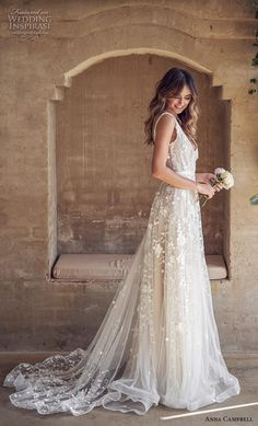 anna campbell 2019 bridal sleeveless v neck full embellishment romantic pretty modified a line wedding dress backless v back medium train (2) sdv -- Anna Campbell 2019 Wedding Dresses | Wedding Inspirasi #wedding #weddings #bridal #weddingdress #bride ~