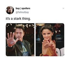 It's a Stark thing Funny Marvel Memes, Marvel Jokes, Avengers Memes, Marvel Avengers, Marvel Universe, Marvel Comics, The Fosters, Stark Family, The Mentalist