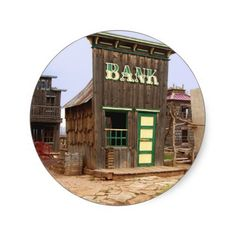 Old West Bank (Color) Classic Round Sticker http://www.zazzle.com/old_west_bank_color_classic_round_sticker-217583727893497413?rf=238756979555966366&tc=PtMPrsskmtCPA  Old West Bank photographed in Utah - Edited in sepia tones and crinkle paper texture for the old fashioned look.