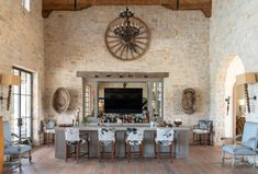Energy Entrepreneur's Stunning Texas Oasis Takes the Ranch Life to a New Level Fancy Living Rooms, House Design, Dining Area, Ranch Life, Cowhide Bar Stools, Maine House, Outdoor Furnishings, Ranch Decor, Rustic Rocking Chairs