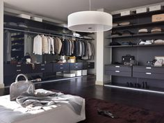 Cargo walk-in wardrobe & designer furniture Walking Closet, Walk In Closet Inspiration, Men Closet, Walk In Wardrobe, Luxury Closet, Dream Closets, Closet Space, Modern Interior, Living Spaces