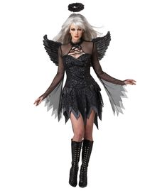 Fallen Angel Adult Costume - Eye Candy by California Costumes. Includes Dress, Wings and Halo. Be a fallen angel this Halloween!