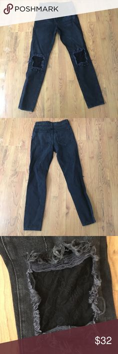 Carmar lace knee jeans Rigid (non stretch) denim. Dark grey/ black wash with lace patches on knee holes. Brand new with no tags. LF Jeans