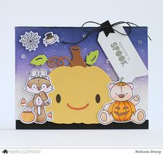 Hi everyone!! I'm back again with a card for Mama Elephant Special Spooky Stampede! The theme is for Halloween and it's so cute, adorable ...