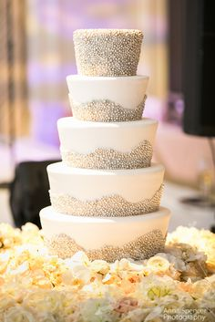 Anna and Spencer Photography , Atlanta Wedding Photographers . White wedding cake with silver dragees. Wedding cake by For Goodness Cakes in Atlanta .