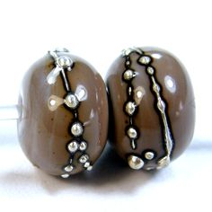 Opaque Mud Slide Brown Handmade Lampwork Glass Beads 703 Offered in Shiny or Etched With or Without .999 Fine Silver, Jewelry Supplies, Bead Making Supplies, Jewelry Beads