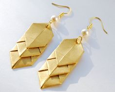 Pearlised Paper Origami Chevron Earrings, with Swarovski Pearls, Choose one Colour.